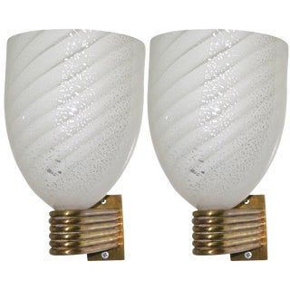 Mazzega 1960s Italian Art Deco White and Silver Murano Glass Bowl Sconces - a Pair For Sale