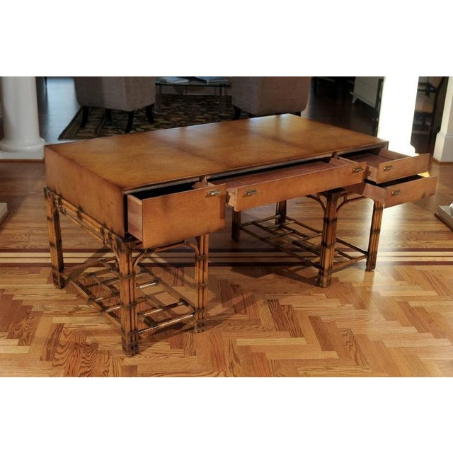 Hollywood Regency Stunning Restored Vintage Double Pedestal Campaign Desk in Birdseye Maple For Sale - Image 3 of 11