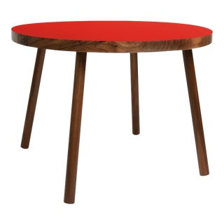 "Poco Small Round 23.5"" Kids Table in Walnut With Red Top For Sale"