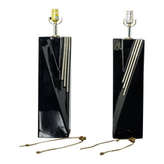 Pair of Black and Gold Table Lamps For Sale