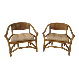 Vintage Chinoiserie Caned Rattan Horseshoe Chairs - a Pair