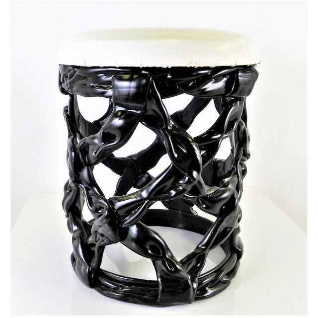 Black 1970s Ribbon Stool Black Resin and White Vynil Seat For Sale - Image 8 of 8