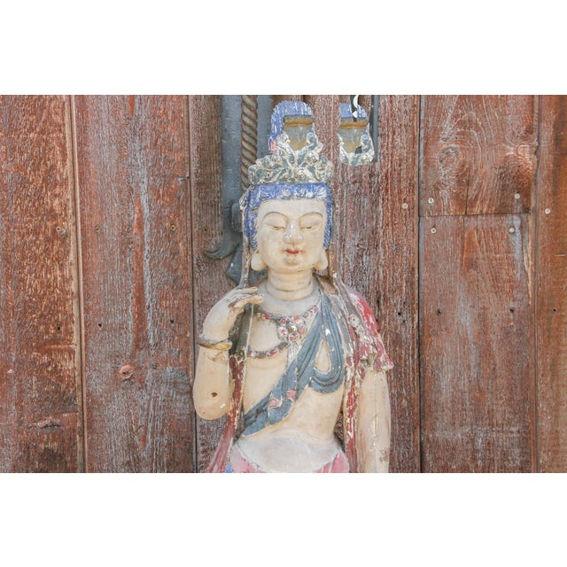 19th Century Antique Polychrome Quand-Yin Statue For Sale - Image 5 of 11