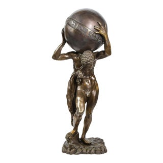 Midcentury Bronze Sculpture of Atlas Holding Globe Banded with Zodiac Symbols For Sale