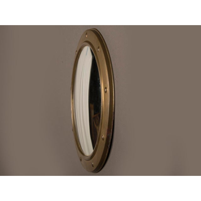 1950s English Vintage Brass Framed Convex Mirror For Sale - Image 4 of 6