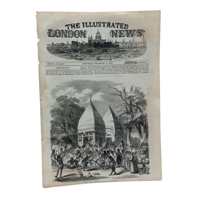 """1857 Antique Illustrated London News """"Hindoo Dance"""" Print For Sale"""