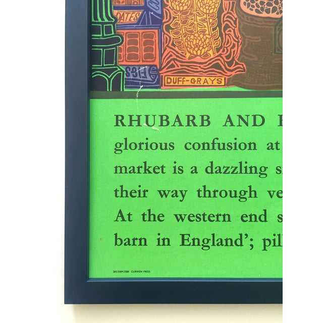 """Kelly Green Rare Vintage 1965 John Griffiths """"Covent Garden: Rhubard and Roses"""" Framed Lithograph Print London Transport Poster For Sale - Image 8 of 13"""