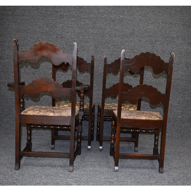 Vintage Solid Carved Dark Oak Jacobean Chairs- Set of 6 For Sale - Image 4 of 11