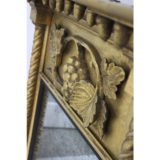 Giltwood 1860s Carved Neoclassical Mirror from a Palm Beach estate. Note carpenter notes on top bare wood.