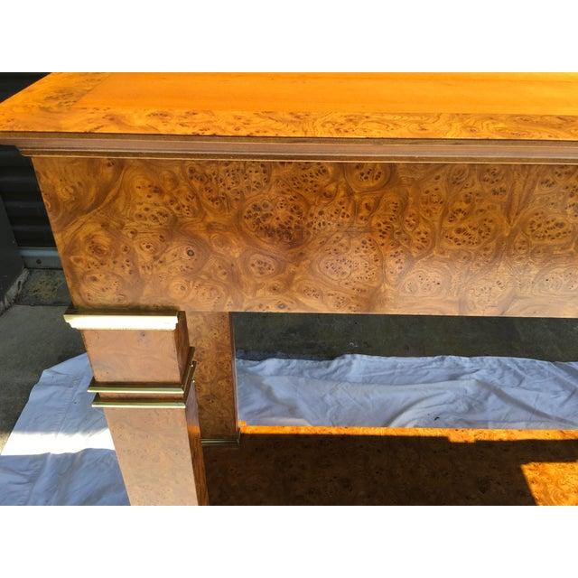 Baker Furniture Company Baker Furniture Regency Console in Burl& Brass For Sale - Image 4 of 12
