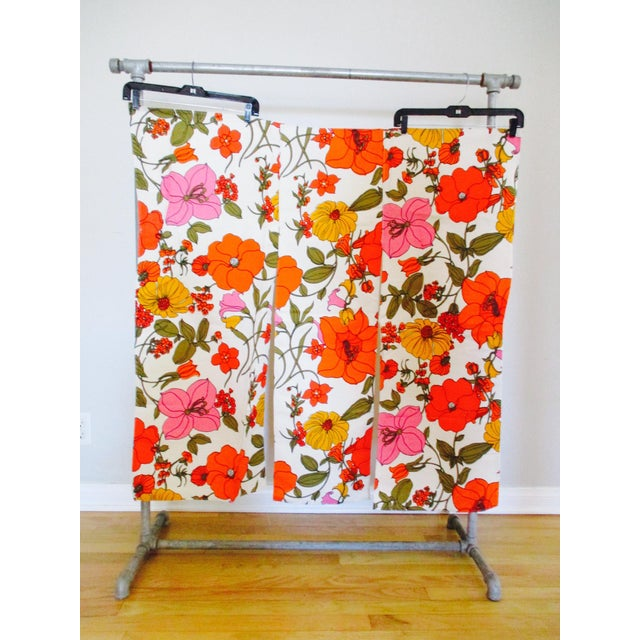 Vintage Swedish Flower Wall Panels Curtains Textile - Set of 4 For Sale - Image 9 of 10