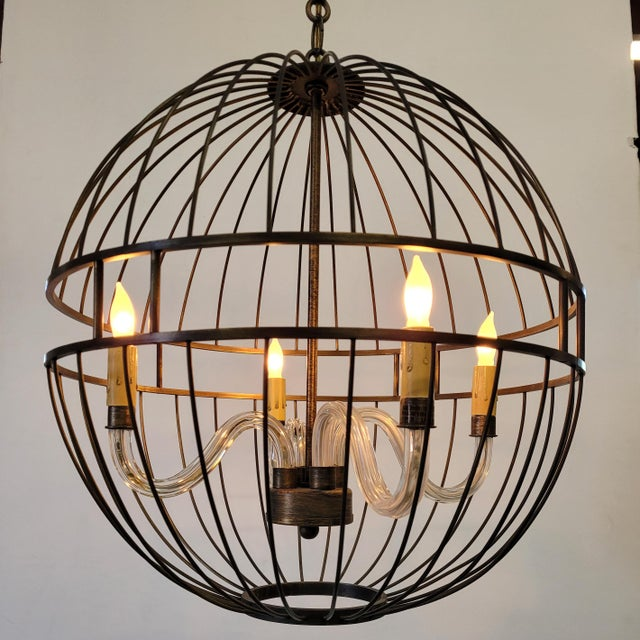 Contemporary Paul Marra Design Oil Rubbed Bronze Metal Sphere Chandelier For Sale - Image 3 of 7