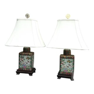 Chinese Rose Medallion Tea Jars Mounted as Table Lamps - a Pair For Sale
