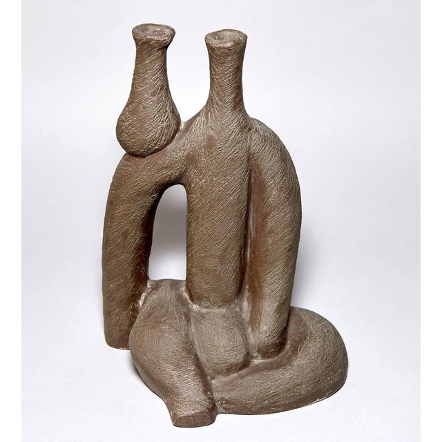 """Brown """"Woman With Vase"""" Ceramic Sculpture by Salvatore Fiume For Sale - Image 8 of 9"""