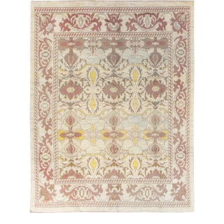 Modern Oushak Handmade Floral Pattern Designed Beige Wool Rug For Sale