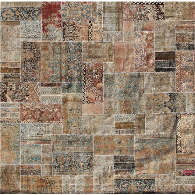 """Hand-Knotted Brown Patchwork Rug - 9'4"""" x 9'5"""" - Image 1 of 2"""