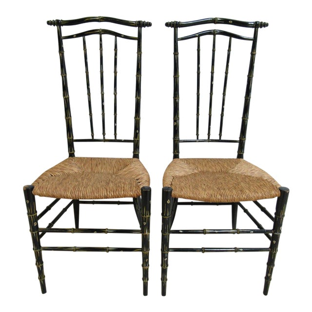 Vintage Faux Painted Bamboo Rush Seat Side Chair - A Pair For Sale