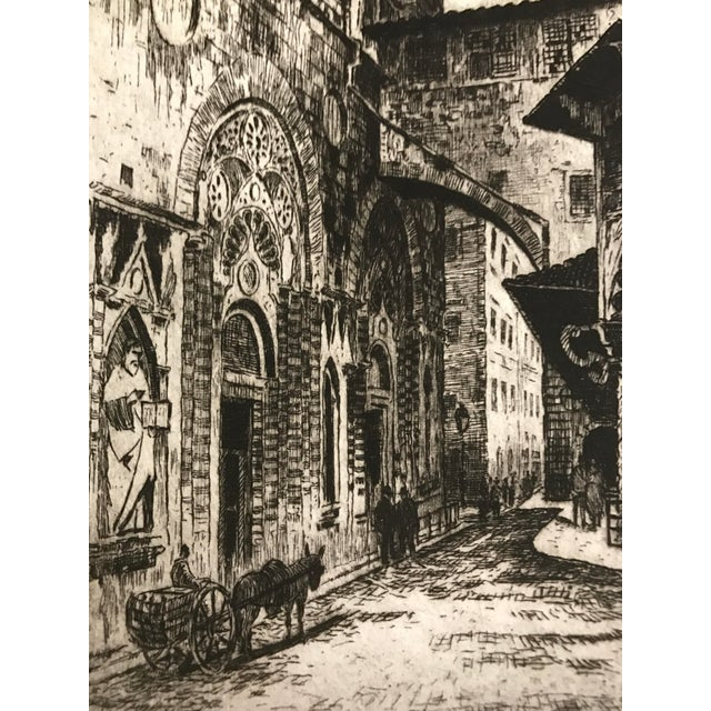 1925 Vintage Florence Italy Street Scene Etching - Image 3 of 5