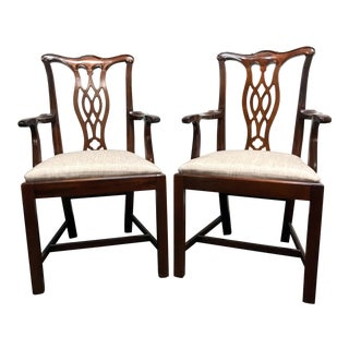 Hickory Chair Solid Mahogany Chippendale Straight Leg Dining Captain's Arm Chairs - Pair