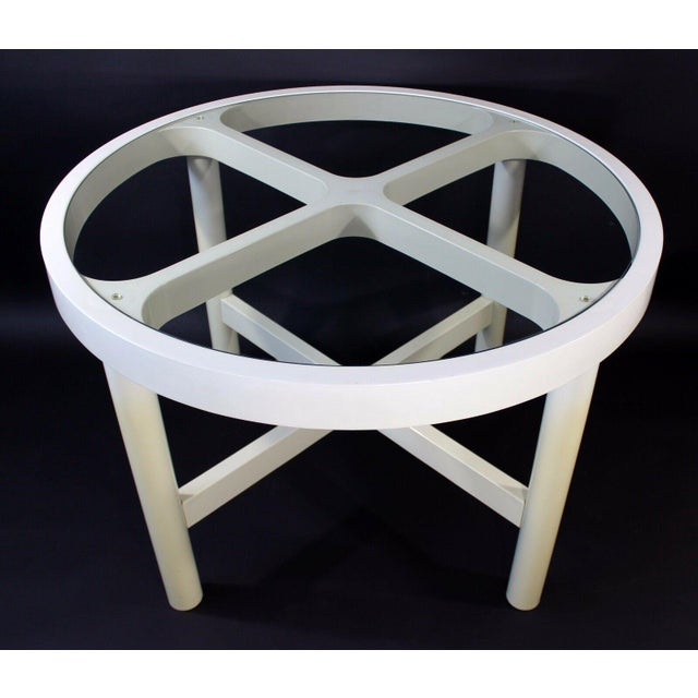 Mid Century Modern Round White Plastic Glass Dining Table ...