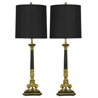 Empire Style Triple Lion Paw Gilt & Black Lacquer Table Lamps For Sale