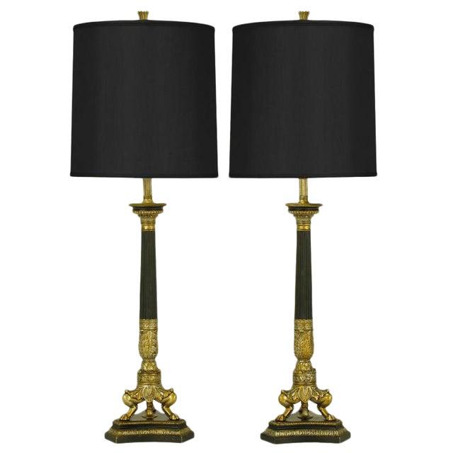 Empire Style Triple Lion Paw Gilt & Black Lacquer Table Lamps For Sale