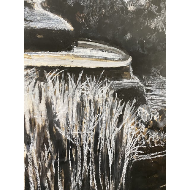 Oversize Black & White Abstract Landscape Painting, Signed & Framed For Sale In Los Angeles - Image 6 of 8