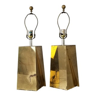 Curtis Jere Postmodern Geometric Brass Table Lamps a Pair . For Sale