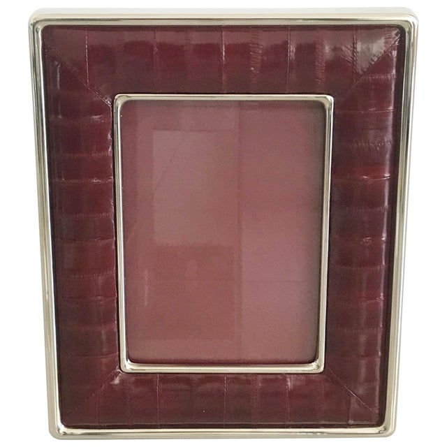 Burgundy Leather Photo Frame by Fabio Ltd For Sale In Palm Springs - Image 6 of 7