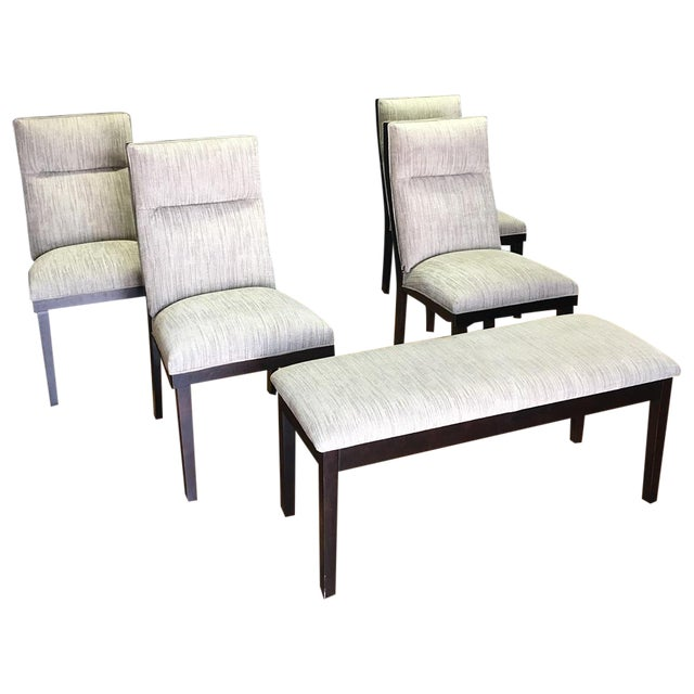 Modern Dining Chairs With Bench - Set of 5 - Image 1 of 11