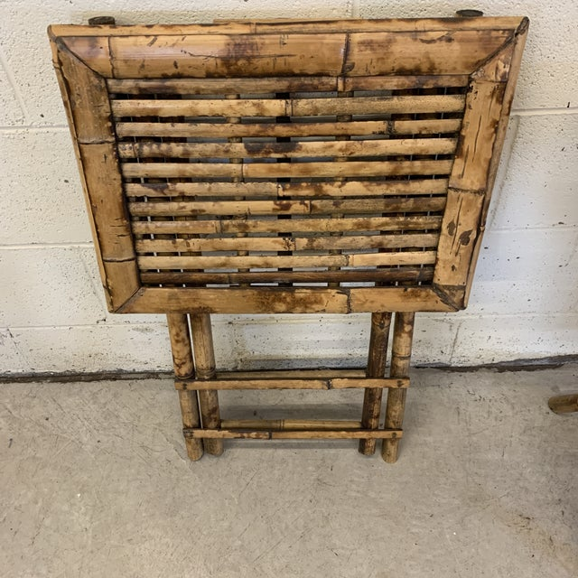 Vintage Burnt Bamboo Folding Tray Tables- a Pair For Sale - Image 11 of 13
