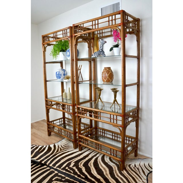 Traditional McGuire Style Rattan Etageres - A Pair For Sale - Image 3 of 11