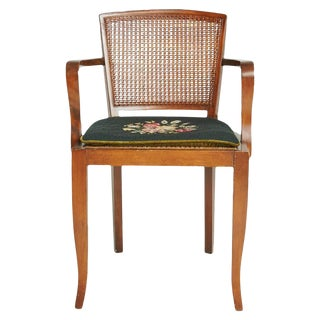 1930 Art Deco Caned Arm Chair with Needlepoint Cushion For Sale