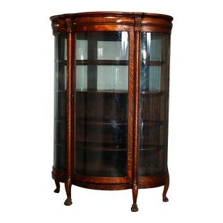 Antique RJ Horner School Oak Serpentine Bow Front China Cabinet For Sale