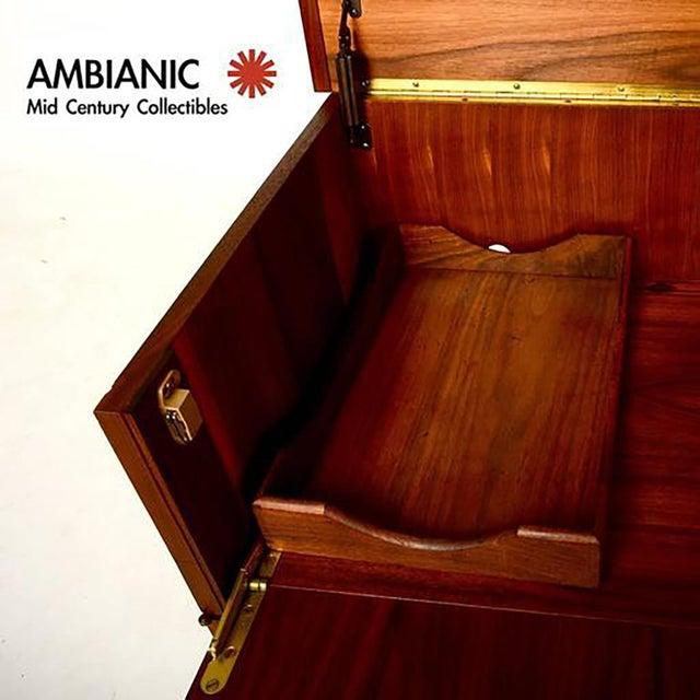 Walnut Mid-Century Modern Walnut Cabinet Desk For Sale - Image 7 of 10