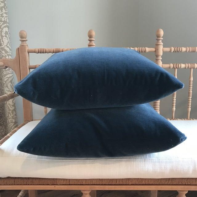Hague Blue Mohair Velvet Pillows - a Pair For Sale - Image 9 of 9