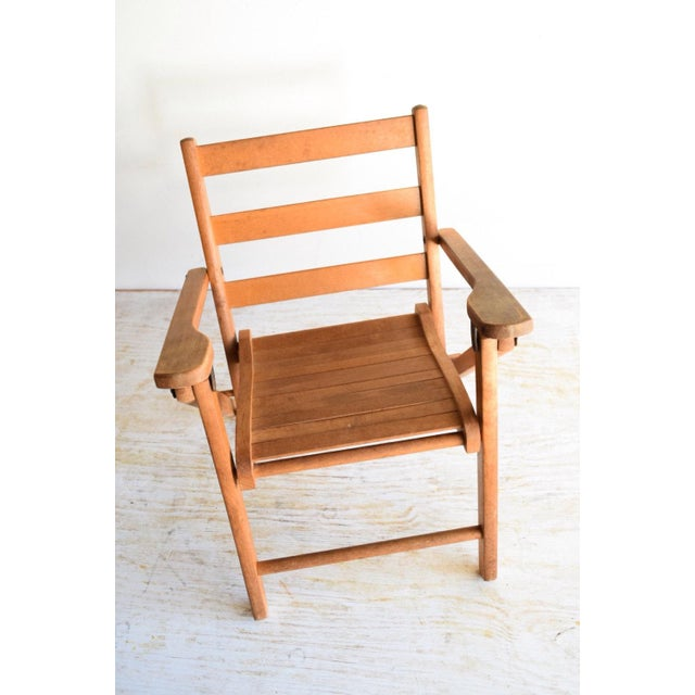Vintage Child's Folding Wooden Deck or Lawn Chair For Sale - Image 5 of 6