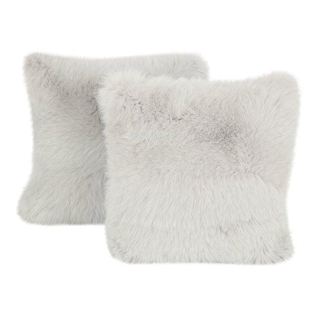 Gray Fur Pillows - A Pair For Sale