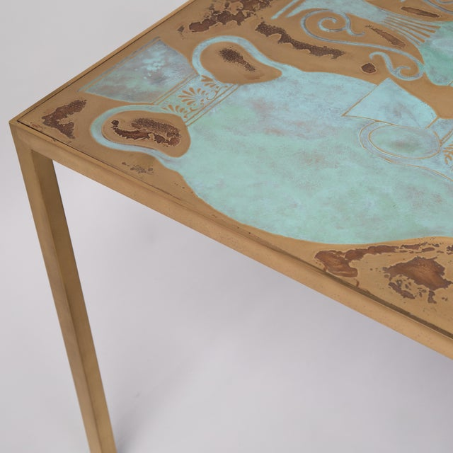 Rare Harvey Probber Acid-Etched and Patinated Bronze Sofa Table, Circa 1960s For Sale - Image 9 of 13