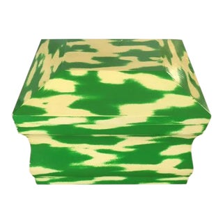 Karl Springer Green and Ivory Lacquer Box For Sale