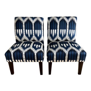 "Modern Custom Slipper Chairs in Schumacher ""Bukhara"" Ikat Fabric- A Pair For Sale"
