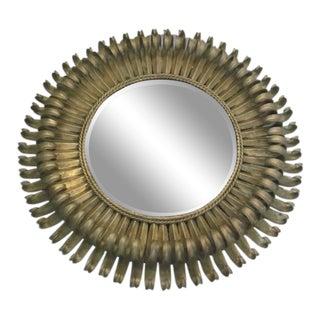 Double Level French 1940s Gilt Iron Sunburst Mirror