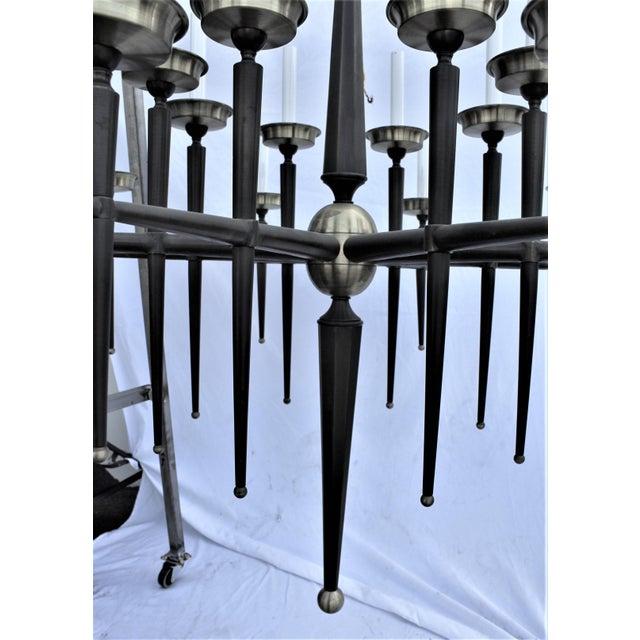 Mid-Century Modern Mid Century Modern Brass Chandelier Solid Brass Bronze Patina For Sale - Image 3 of 11