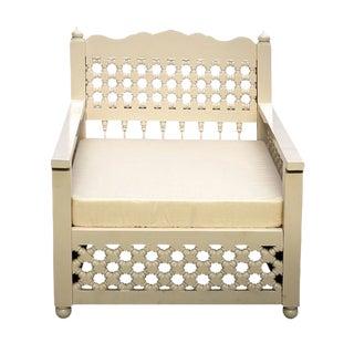 White Mousharabi Teak Lattice Club Chair