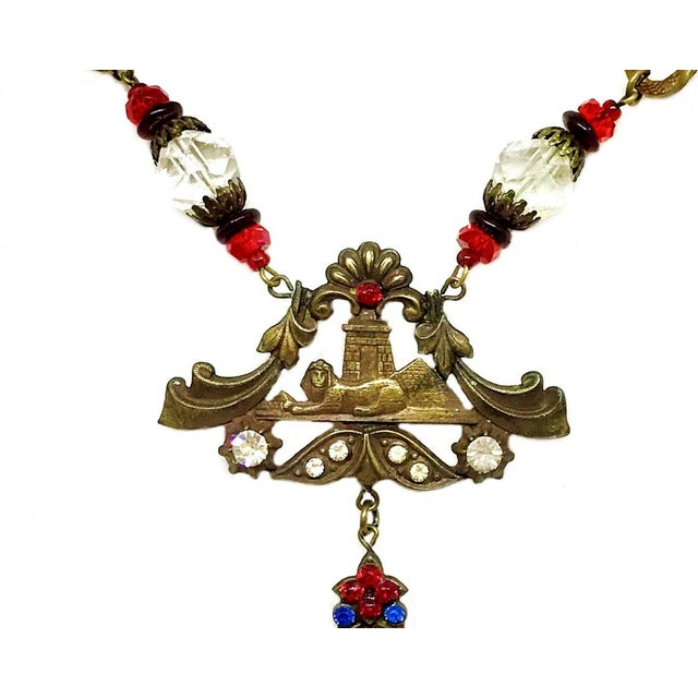 1920s to 1930s Czechoslovakian Egyptian Revival Necklace For Sale - Image 4 of 6