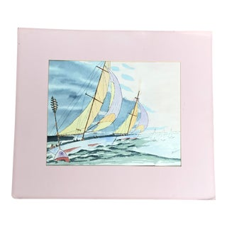 1970s Sailing Watercolor Painting For Sale