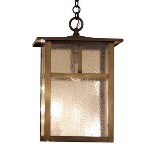 Arts & Crafts Brass Lantern with Textured Clear Glass For Sale