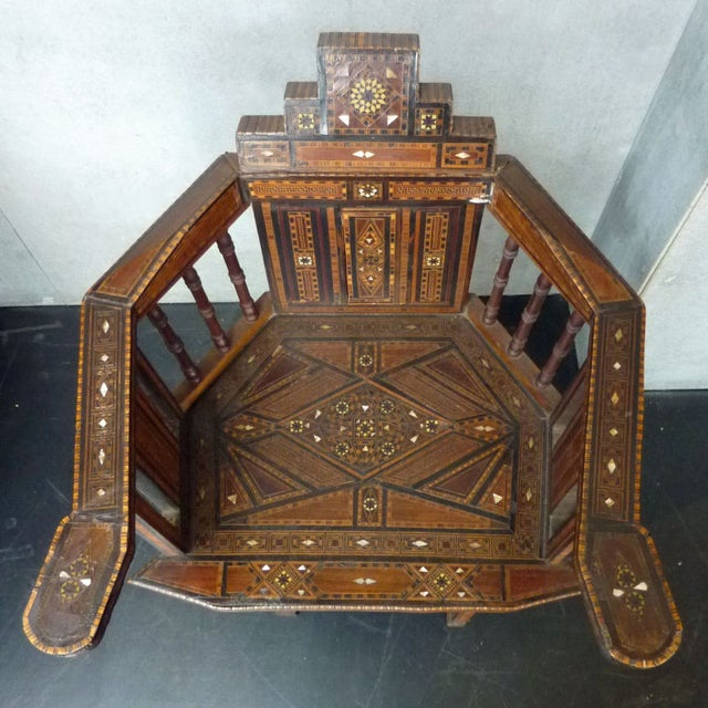 Early 20th Century Turkish Wood Inlay Chair - Image 6 of 6
