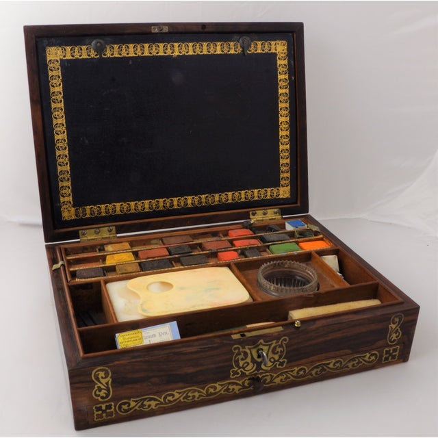 19th C. Brass Inlaid Rosewood Artist Box For Sale - Image 9 of 9