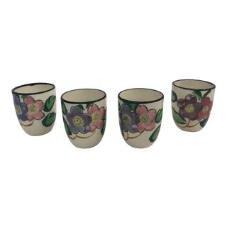 Vintage Hand Painted Japanese Saki Cups - Set of 4